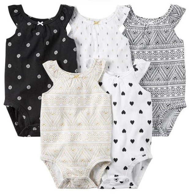 5pcs/lot Summer Sleeveless vest suits for girl , baby kids bebes girl clothes set bodysuit full cotton Baby clothing