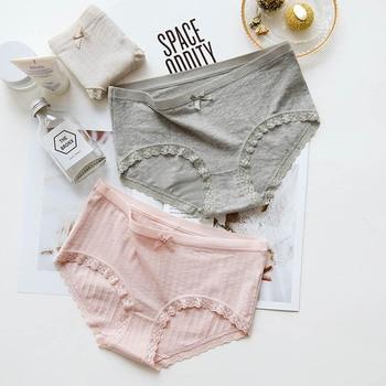 73f5ea85b9 CIM bragas mujer algodón simple encaje chica estudiante medio cintura bragas  pantalones de algodón Pantalones