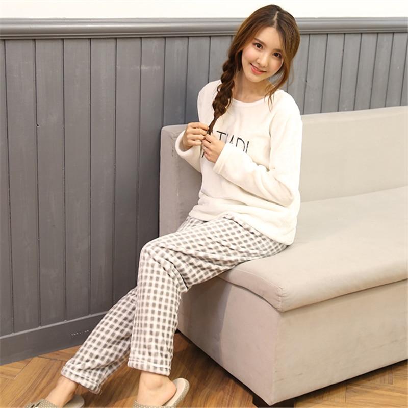 2PCS/Lot Autumn Winter Thick Women Pyjamas Sets Sleepwear Suit pajamas Flannel Warm Cartoon Animal Cute Pijama Bear Sleepwear 30