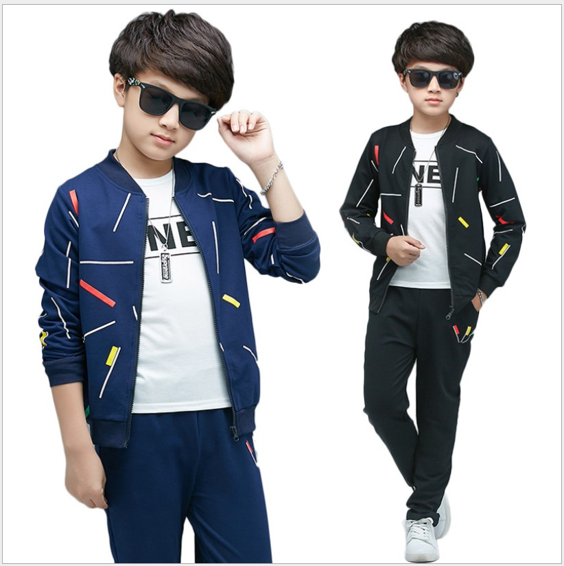 Boutique Boys Clothes 2017 Winter Striped Two-Piece Suits For Boys Tracksuit Kids Add Velvet Teenage Boys Clothing Set 10 Years big teenage boys clothes set summer 2017 kids colorful striped t shirts