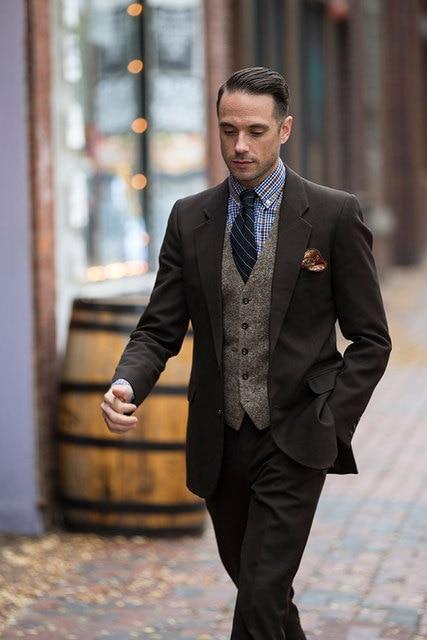 Formal Brown Tuxedo Tweed Waistcoat Suit Men Smart Business Men Suit