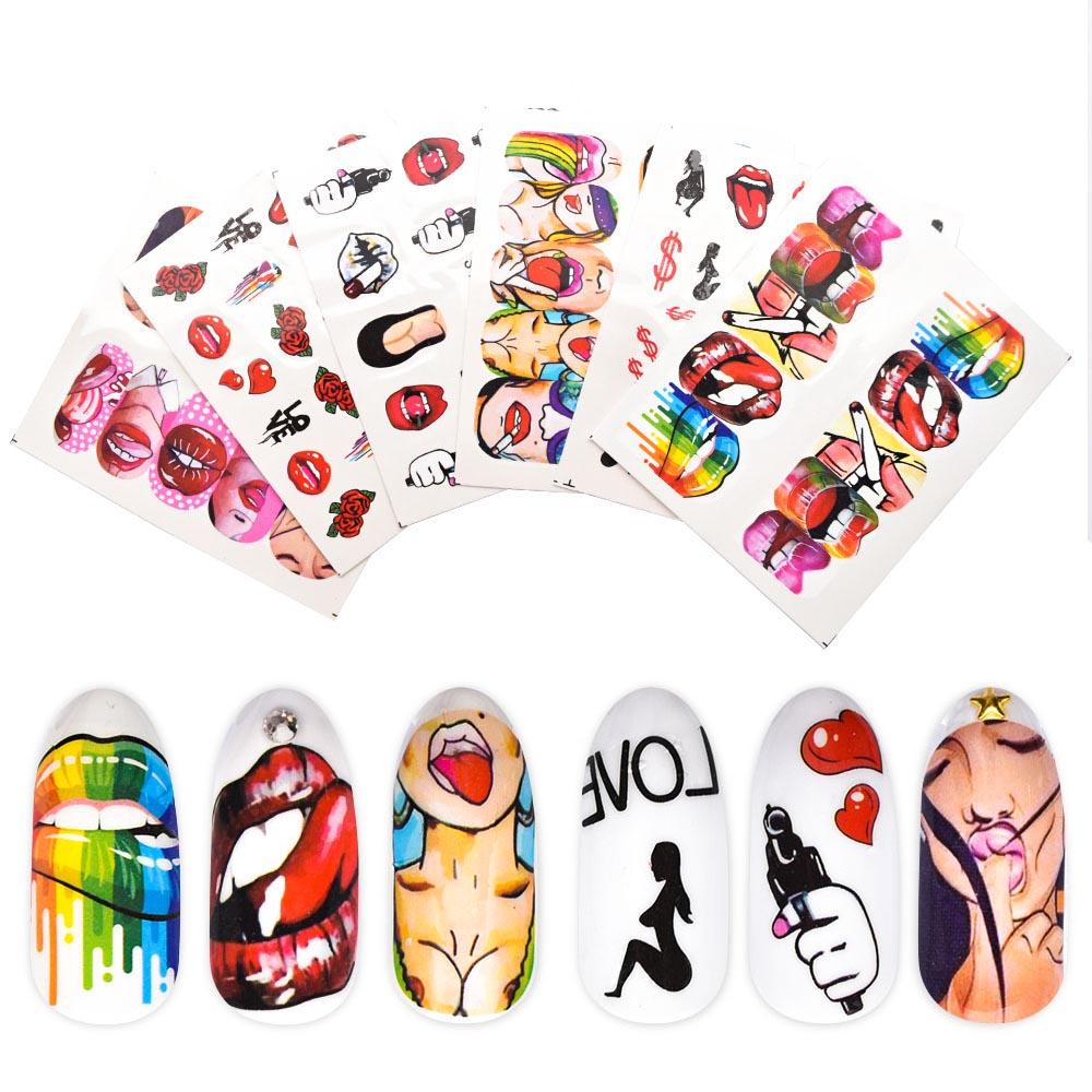 1pcs <font><b>Nail</b></font> <font><b>Stickers</b></font> <font><b>Sexy</b></font> Lips Cool Girl Water Decals Wraps Cartoon Sliders For <font><b>Nail</b></font> Art Decorations Manicure Colorful Tip ZJT4022 image