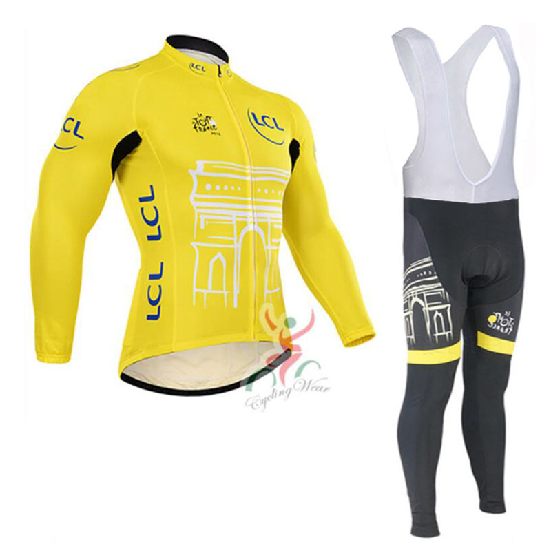 Tour Men Long Sleeve Biking Set Cycling Jersey + 9d Padded Shorts Cycling Suit Clothing Set Riding Sportswear Yellow