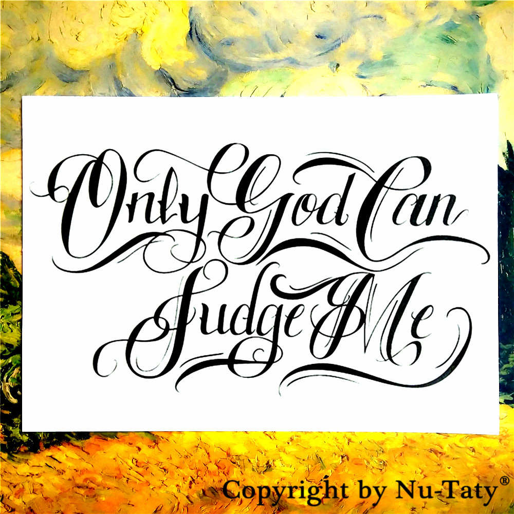 SHNAPIGN Only God Can Judge Me Temporary Tattoo Body Art Flash Tattoo Sticker 21*15cm Waterproof Fake  Henna Painless Sticker