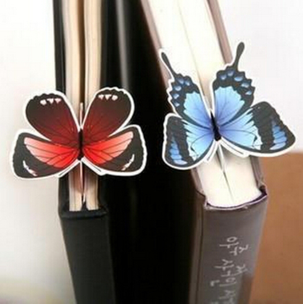 5Pcs/Lot New Butterfly Material Paper Bookmarks For Books Markers Holder School Cute Gift H2278