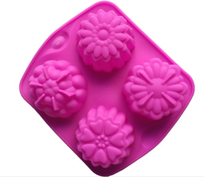 Baking Accessories 4 Even Flower Shape Cake Mould Diy Pudding Jelly Manual Dye Shaped Silicone Craft Handmade Molds For Soaps