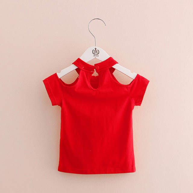 3301d2df353d Online Shop 2018 Cotton Summer Girls T Shirt Off Shoulder Red Black O Neck  T-Shirts Kids Top Tee Girl Children Clothes Toddler Baby 2-7T