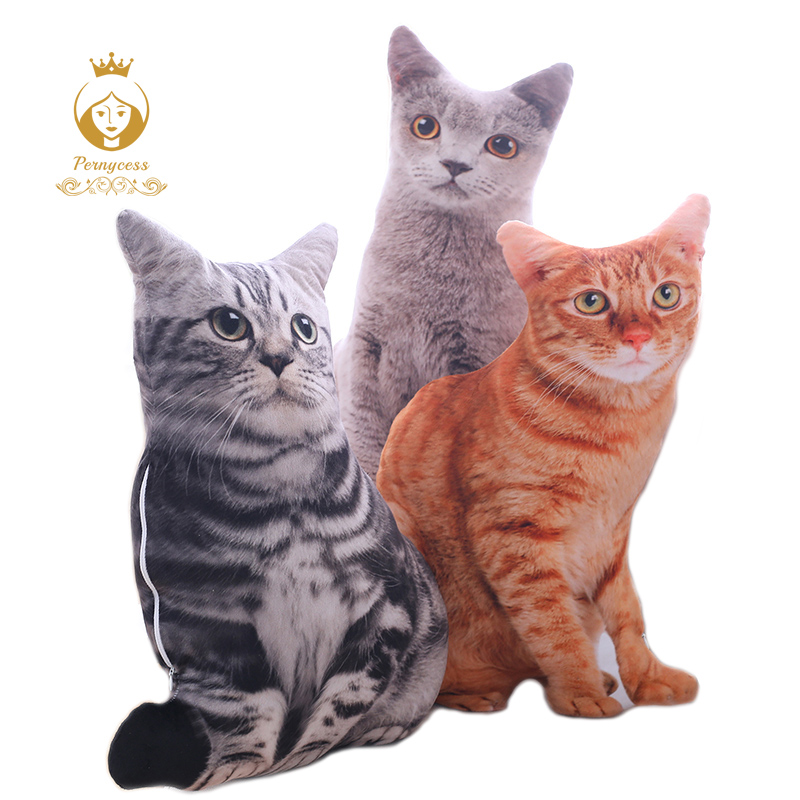 1PCS 50CM 3D Simulation Katzen Kissen, Nette Katze Waschbar Plüsch Kissen, Kinder Spielzeug, sofa Kissen, Home Dekoration
