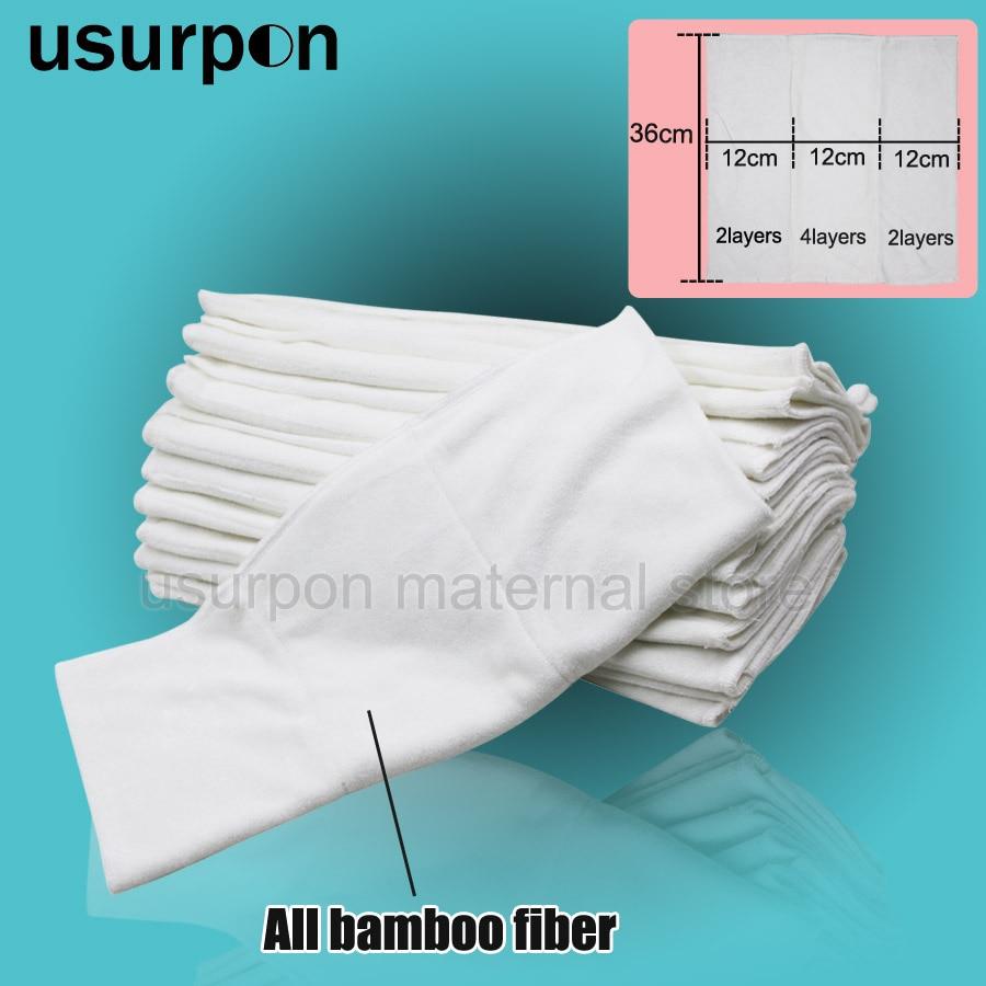 [usurpon] 3pcs Free Shipping 36*36cm Bamboo Prefold Diaper, Washable Bamboo Fiber Insert