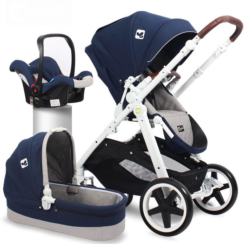 2018 Alta Vista 3-em-1 com Coolbaby Dual-uso Do assento de Carro Carrinho De Criança Dobrável Luz Carrinho De Criança de Dois -Way Shock-Up Carrinho de Bebê Carrinho De Criança
