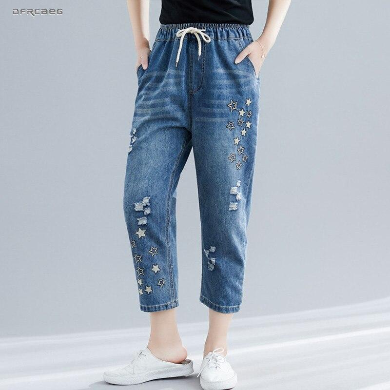Loose Ripped Embroidery Boyfriends Jeans Woman 2019 Summer Elastic Waist Vintage Denim Pants Streetwear Capris Jean Nine Femme