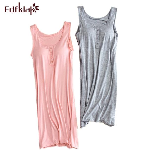d4a5e9a176 Fdfklak Female Night Dress Sleeveless Sexy Cotton Sleepwear Nightshirts  Nighty Women Nightgowns Summer Nightwear Night Gown