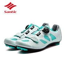 Santic Велоспорт Обувь Дорожные Женщины-2018 Профессиональный Велосипед Обувь Самоконтрящаяся Обувь Дышащий Спортивное Кроссовки Sapatilla Джерси