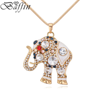 New Cute Elephant Necklace Pendant Rhinestone Long Chain Maxi Collier Jewelry For Women S Day Made