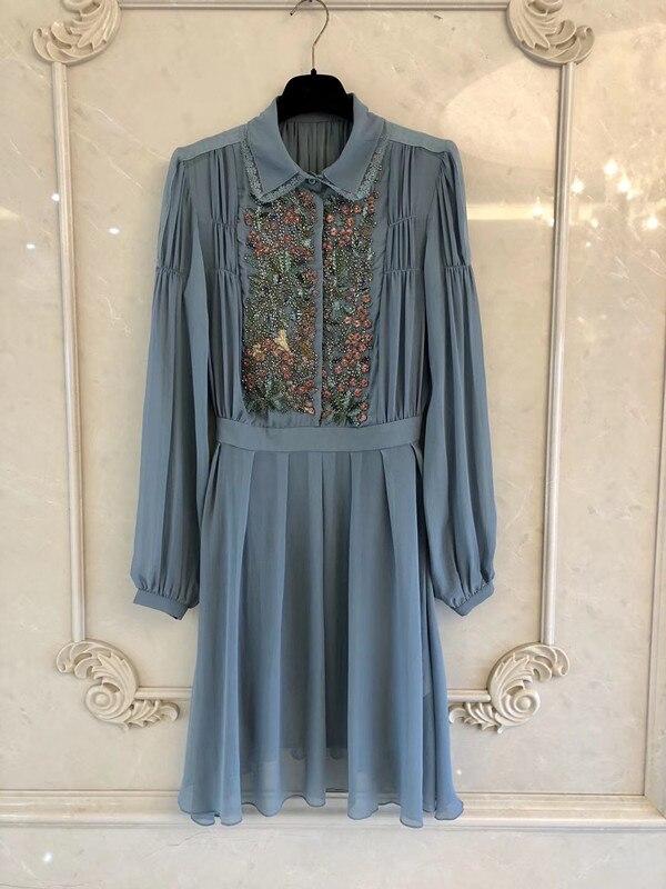 2019 women embroidered silk dress long sleeve dress
