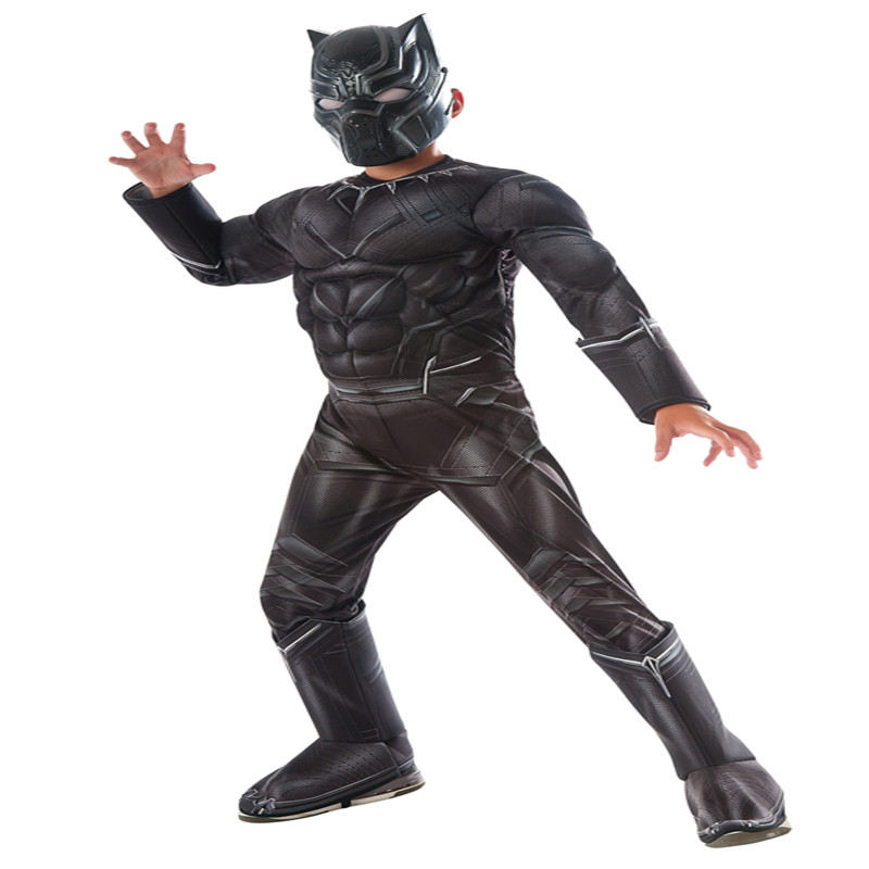 Boys Civil War Deluxe Black Panther Costume Halloween Kids Party Cosplay