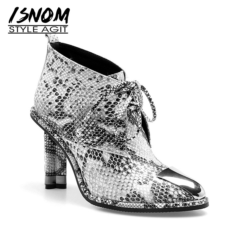 ISNOM Cow Leather Snake Print Women Boots Pointed Toe Footwear Unusual High Heels Female Boot Platform