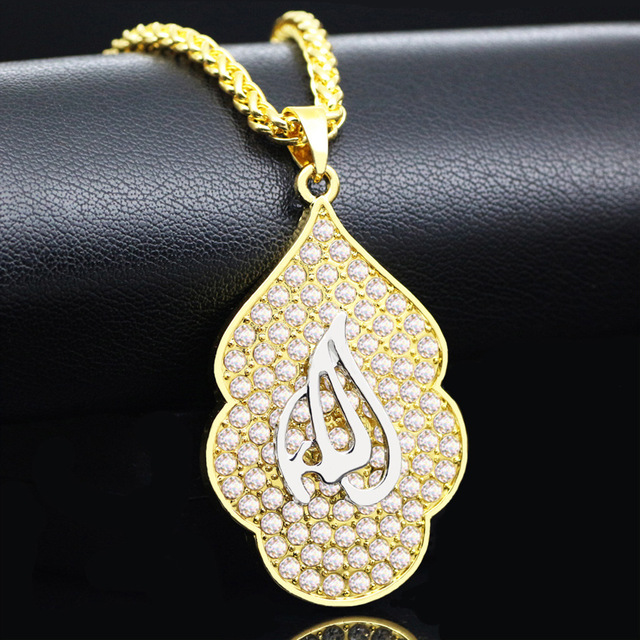 936748b3f1e16 US $5.91 25% OFF|WEIYU Allah Pendant Gold Necklace Yellow Gold Color  Islamic Big Rhinestone Pendant Religious Muslim Jewelry For Women  Necklace-in ...