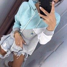 Mr.nut women's new stitching hit color hooded long-sleeved drawstring hoodie  Streetwear  Cotton  hoodies women
