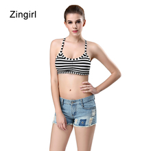 Zingirl Striped Strap Sexy Tube Tops Women Intimates Contrast Color Cross Bandage Bra Brassiere Modal Beach Wrapped Top Female