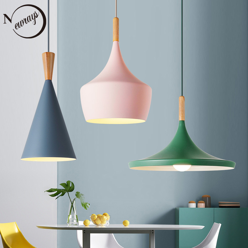 Nordic Personalit Combination Simple Family Wood Aluminum Pendant Lights Bar Coffee Bedroom Dining Room Decorative Hanging Lamp