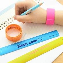 1 Piece Bracelet School Ruler, 18 cm, Assorted Colors, Ruler Silicone Slap Bracelet – Party Favors, Shatterproof Ruler Wristband
