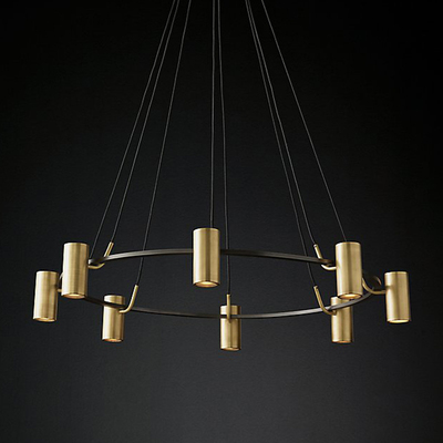 Luxury American Copper RH Style Led Round Chandelier Living Room Cable Pendant Chandelier Lighting Hanging Lamp Led Lamparas