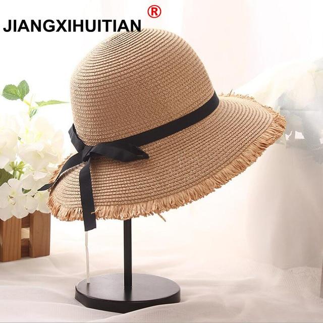 19b92446c0f927 Wholesale Women Natural Wide Brim Straw Hats Fringe Women Plain Large Beach  Summer bow Sun Caps Big Straw Cap free shipping