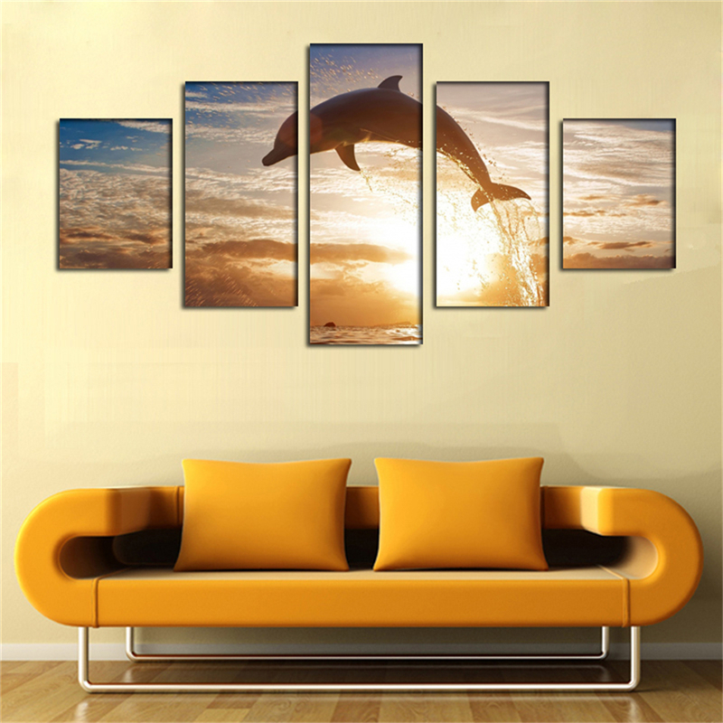 Hot Sale 5pcs Wall Decor Landscape Paintings On Canvas Stretched Dolphin Art Picture For Living Room Home Decoration