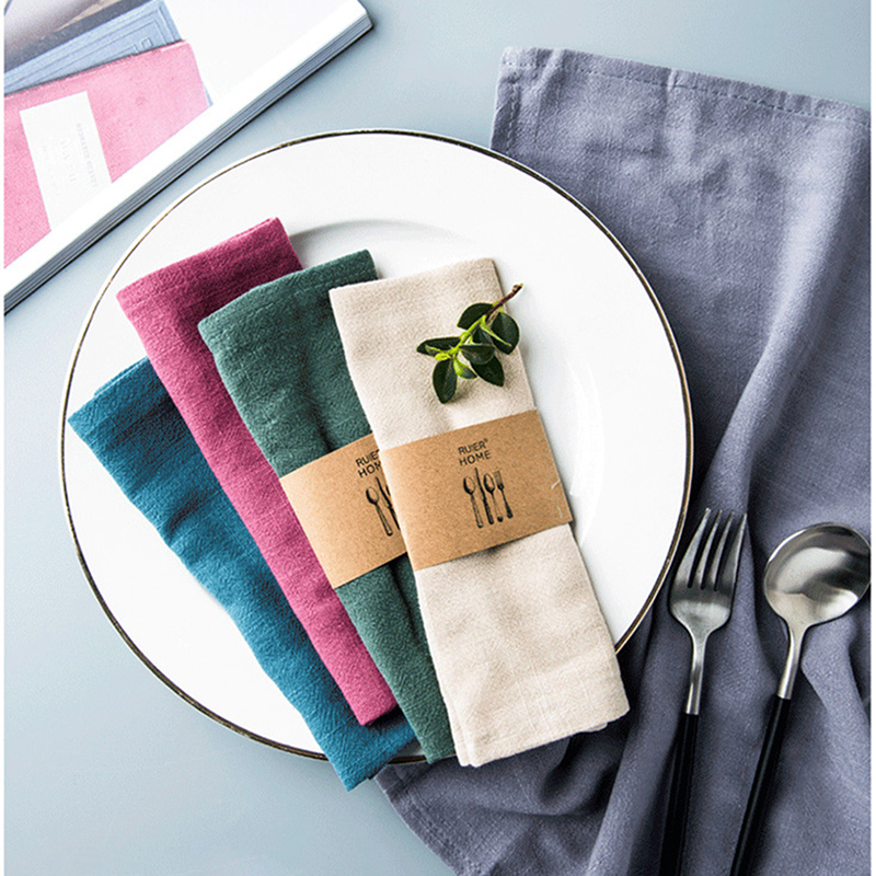 Cotton Linen Cloth Table Napkin Polyester Handkerchief Cloth For Diner Party Xmas Solid Cup Dishes Napkins Table Decorative