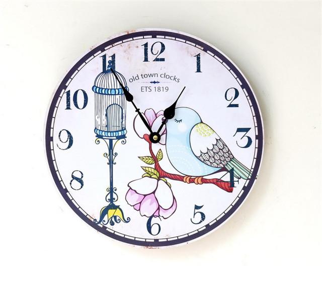 2017 Wooden Wall  Clocks Decorative Wall Hanging Clock Creative Bird Printing  Pattern Home Decor Gifts Crafts