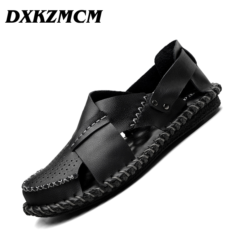 DXKZMCM עור אמיתי גברים סנדלי האופנה קיץ זכר לנשימה Mens נעלי ספורט ShoesBeach נועלת סנדלים
