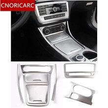 Cnoricarc серебро Центральная ящик для хранения кадра отделкой автомобиль кондиционер стакана воды панель накладка для Mercedes Benz cla C117 gla x156