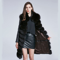 Winter women's fur coat fox fur feather long sleeved jacket fashion autumn and winter removable detachable stitching fur coat