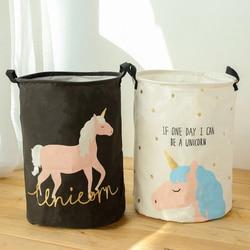 Storage Basket Large Size Foldable Waterproof Laundry Basket Unicorn Pink Blue  Nursery Hamper for Toy Clothes Bedroom 35x45cm