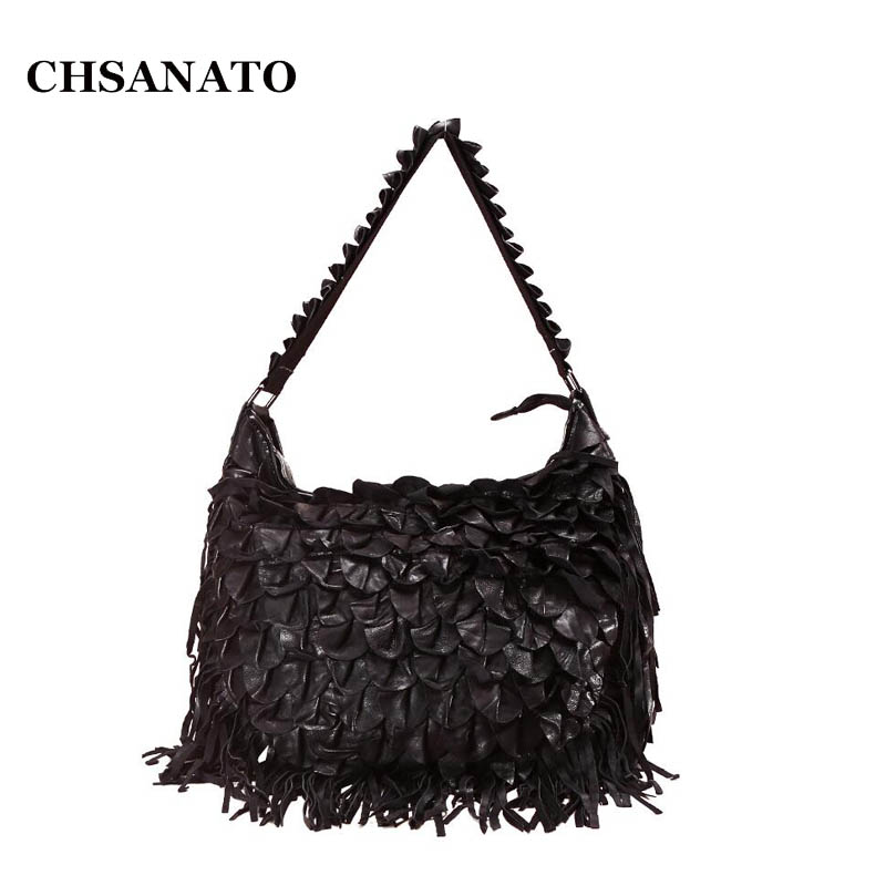 CHSANATO Bohemian Handbag Tassel Ruffles Crossbody Bags For Women 2019 Black Colorful Patchwork Sheepskin Handbags Ladies