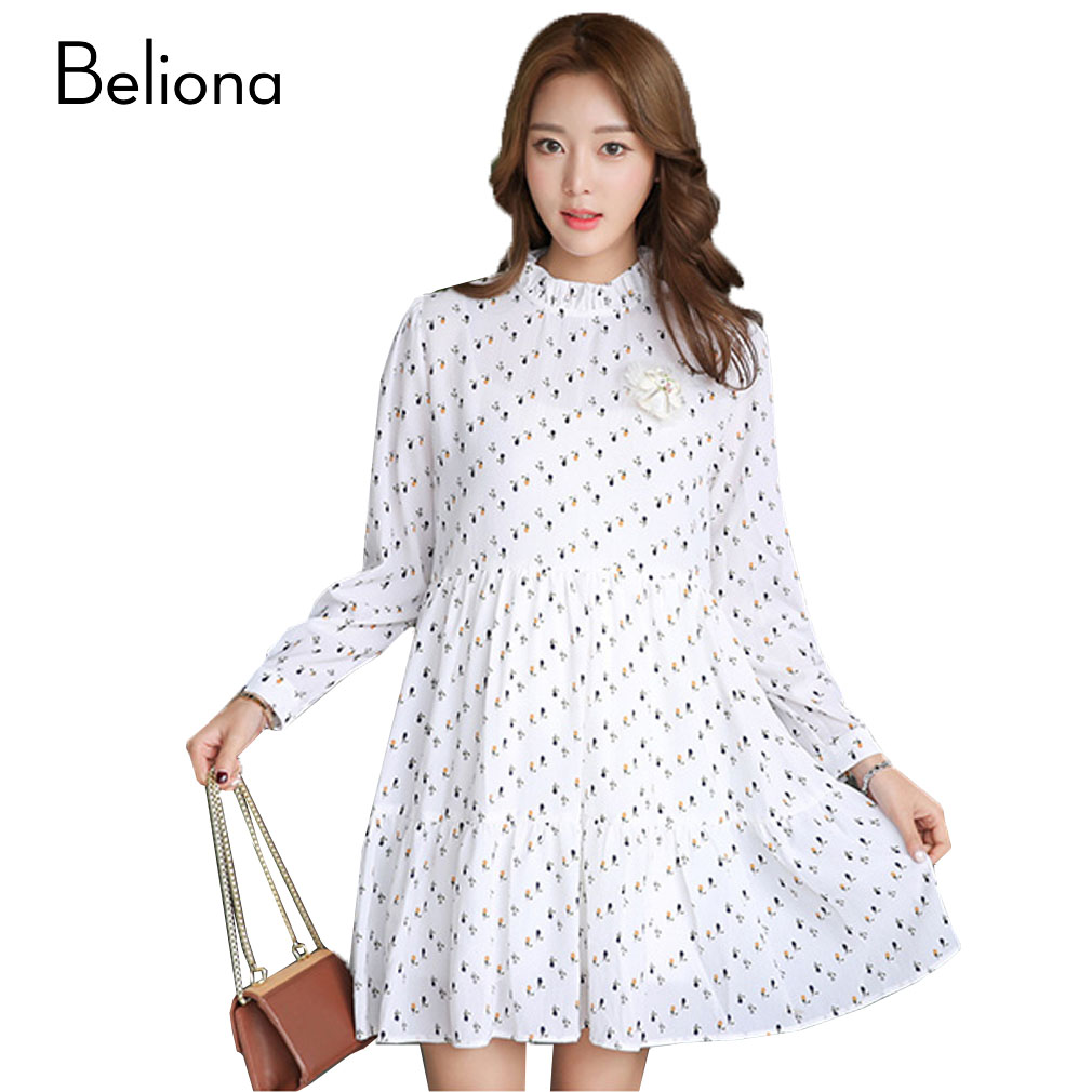 Loose Chiffon Floral Maternity Dresses Long Sleeve Pregnancy Clothing for Pregnant Women Spring Summer Maternity Clothes quality cotton linen maternity dresses autumn long sleeve clothes for pregnant women clothing for pregnancy 2017 new fashion