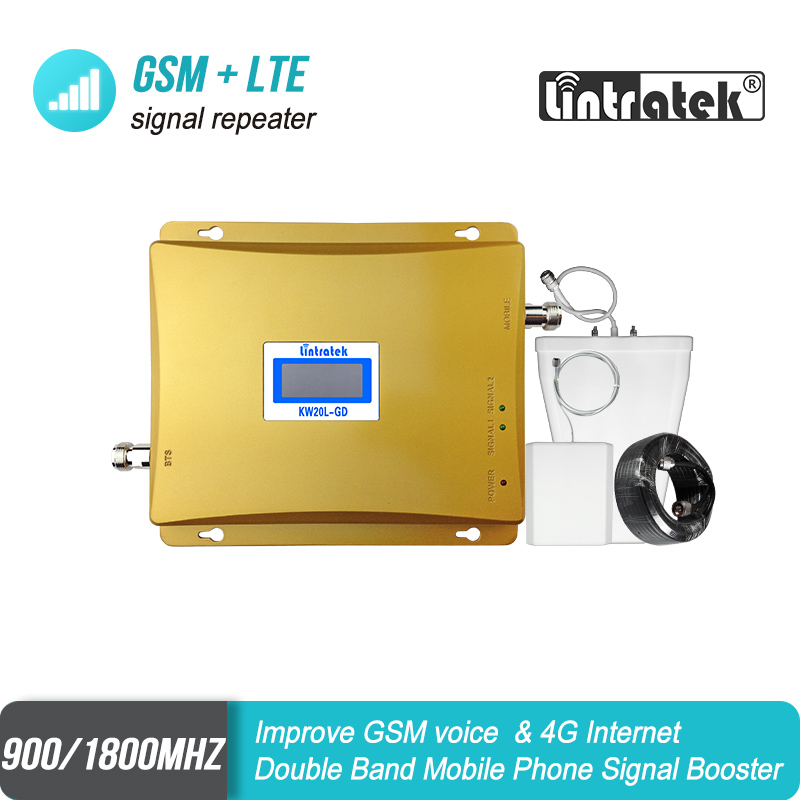 LCD Display GSM 900 4G LTE 1800 Repeater Mobile Phone Signal Booster 900 1800 mhz 65dB