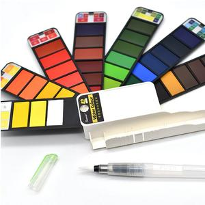 18/25/33/42 farben tragbare aquarell Solide farbe faltbare anzug Brunnen stift mit leitungs wasser Für zeichnung Malerei Design