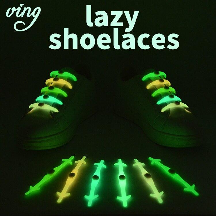 12pcs/Set VING Silicone Light Up Fashion  Luminous Shoelaces Flash Party Glowing Shoe Lace Shoestrings Lazy No Tie Shoeslace Hot