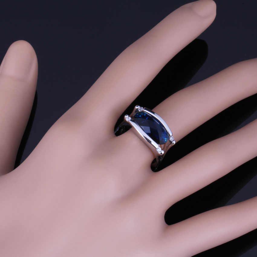 Amazing Blue Cubic Zirconia สีขาว CZ 925 แหวนเงินผู้หญิง V0659