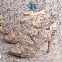 Wedopus Новый Стиль Ню Сандалии Свадебные Туфли Элегантные туфли на Высоком каблуке Летняя Обувь