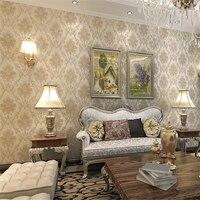 Non Woven Luxury European Bronzing Damascus Wallpaper Living Room Bedroom Restaurant Walkway Wallpaper Papel De Parede