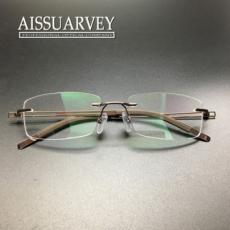 0f708f98b66 Men glasses frame rimless eyeglasses optical brand designer ...