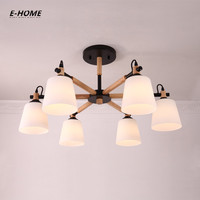EHOME Nordic Chandelier E27 With PVC Lampshade For Living Room Suspendsion Lighting Fixtures Lamparas Colgantes Wooden 110V 220V
