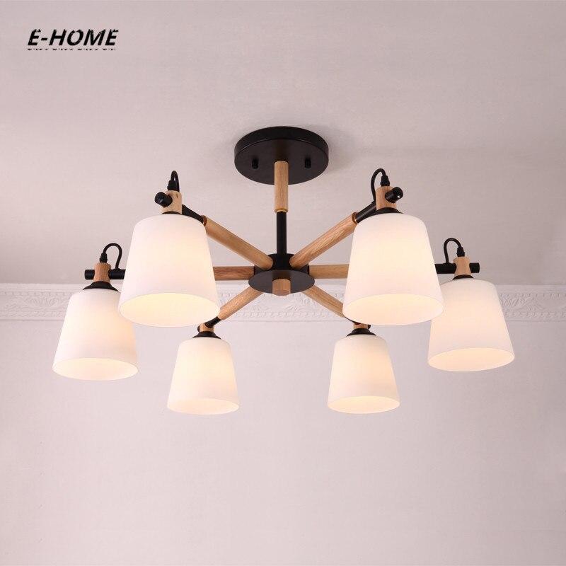 EHOME Nordic Kronleuchter E27 Mit PVC Lampenschirm Für Wohnzimmer  Suspendsion Leuchten Lamparas Colgantes Holz 110 V 220 V
