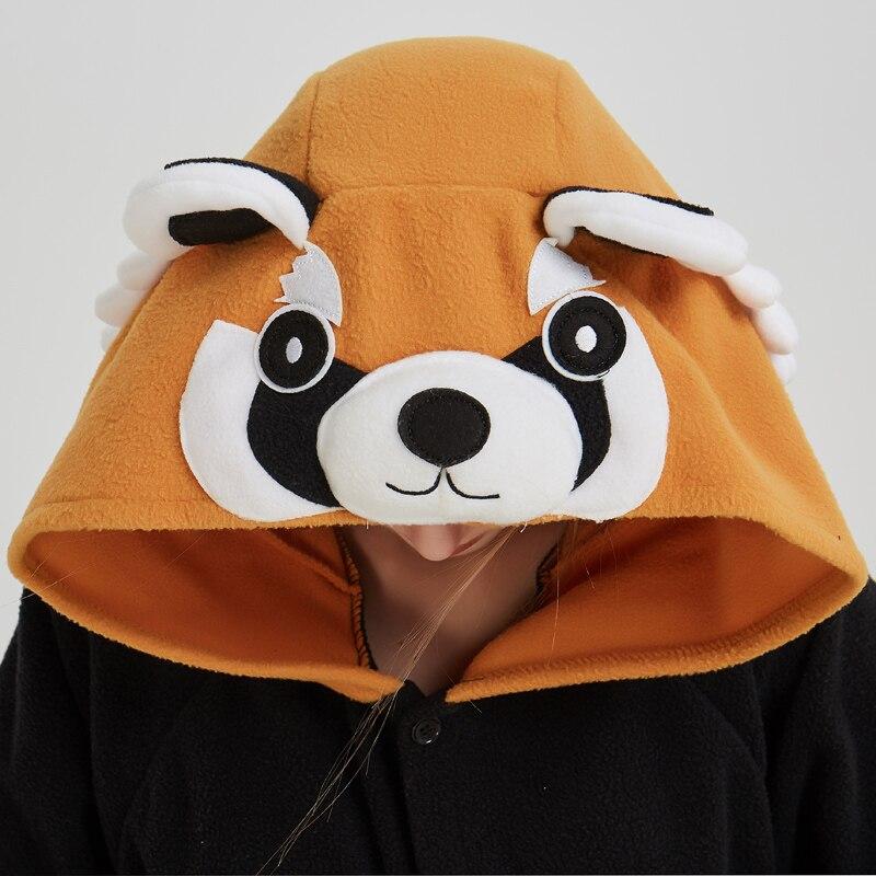 Women Onesie Raccoon Pajama Funny Cute Animal Party Suit Unisex Adult Winter Brown Black Jumpsuit Warm Sleep Wear Couple Pyjamas (1)
