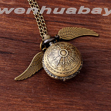 Bronze Small mini Harry Potter Silver Snitch Ball Pocket Watch Necklace Chain Pendant Wings Smooth Quartz Watch pocket Gifts
