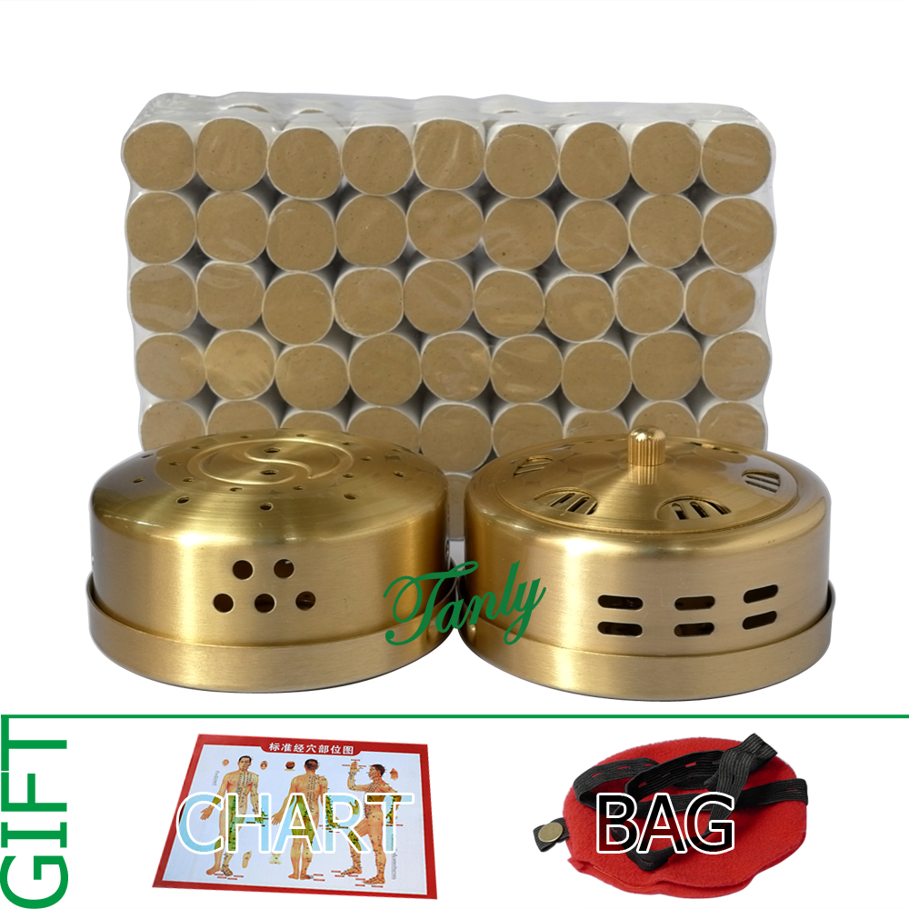 Retail moxibustion suit 2pcs new type thicken copper moxa box + 108pcs 5 years 45:1 little smoke mugwort moxa roll gift bag portable thicken pure stainless steel body moxibustion device moxa box new type