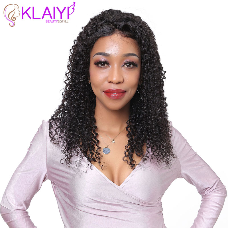 Klaiyi Hair Curly Lace Front Human Hair Wigs 150% Density Brazilian Remy Hair With Baby Hair 10 24inch Pre Pluck For Women